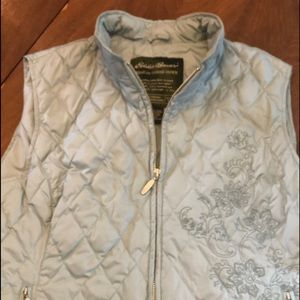 Eddie Bauer Goose Down Puffer Embroidered Vest L